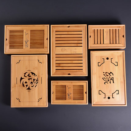 Bamboo Wooden Tea Tray Household Tea Set Tea Holder Water Storage Drawing Room Tray Saucer
