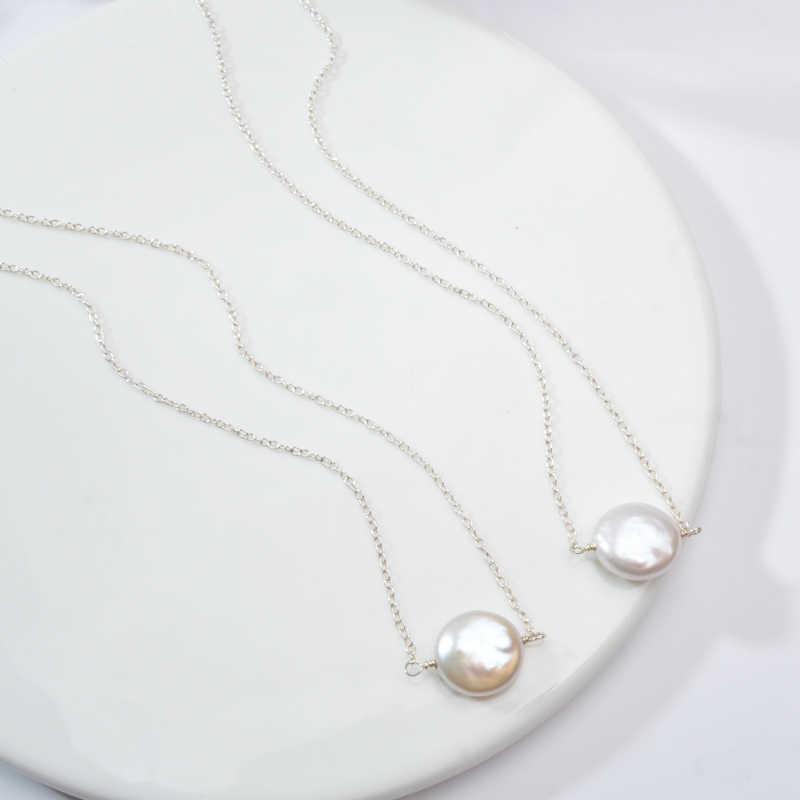ASHIQI Multi Layer ธรรมชาติ Baroque Pearl Clavicle Chain 925 choker สร้อยคอแฟชั่น 2019