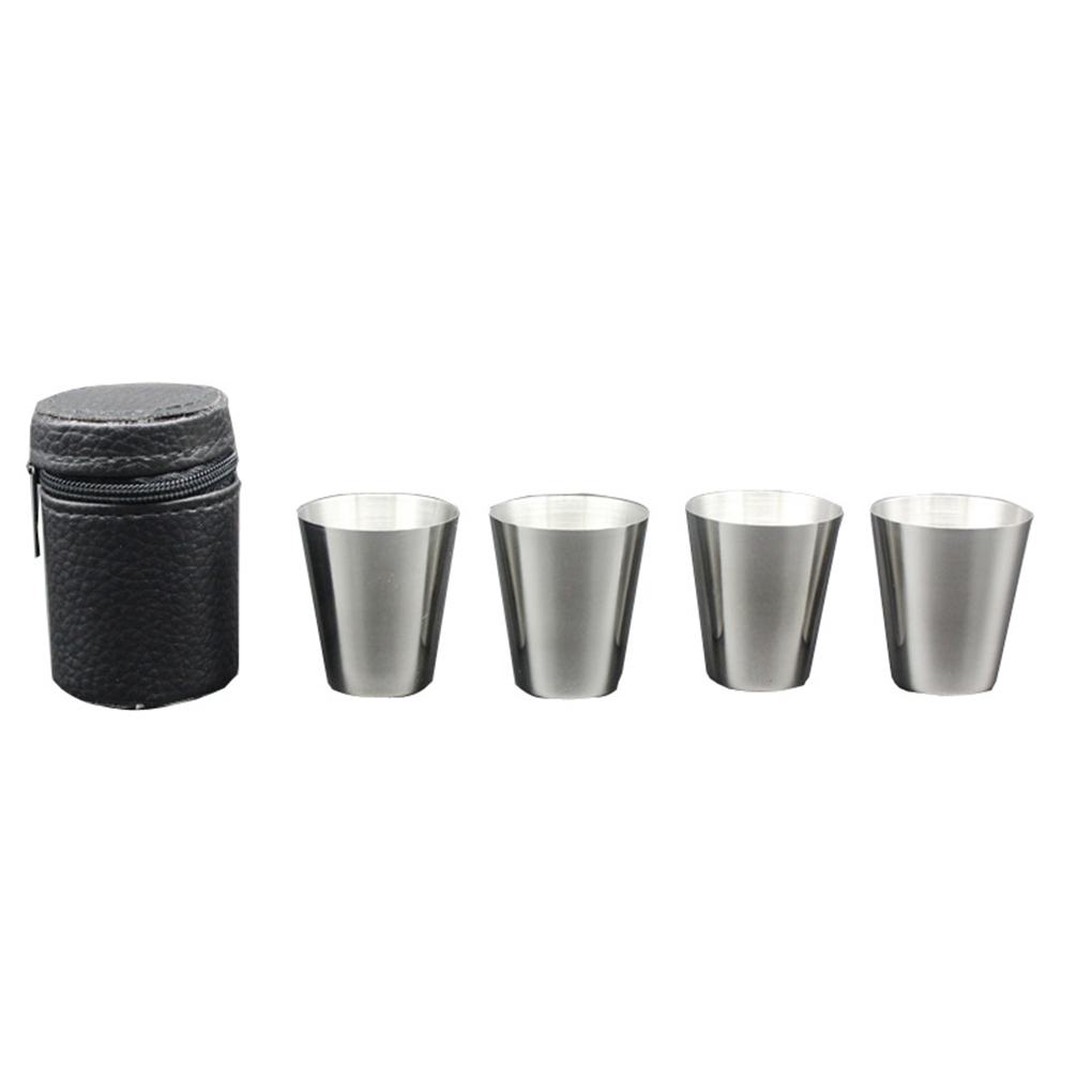 Shot Drinking-Glasses Glass-Cup Stainless-Steel Wine Kitchen Home 30ML Mini with Cover-Bag title=