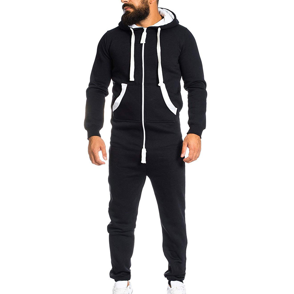 Men's All In One Piece Jumpsuit Fitness Jogging Garment Non Footed Pajama Playsuit Blouse Hoodie Casual Winter Warm Sleepsuit#S