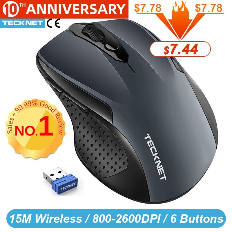 TeckNet Pro 2.4GHz Wireless Mouse Nano Receiver Ergonomic Mice 6 Buttons 2600DPI 5 Adjustment Levels for Computer Laptop Desktop