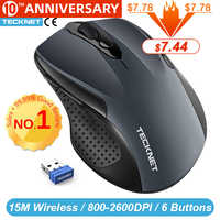 TeckNet Pro 2.4GHz Wireless Mouse Nano Receiver Ergonomic Mice 6 Buttons 2600DPI 5 Adjustment Levels for Computer Laptop Desktop