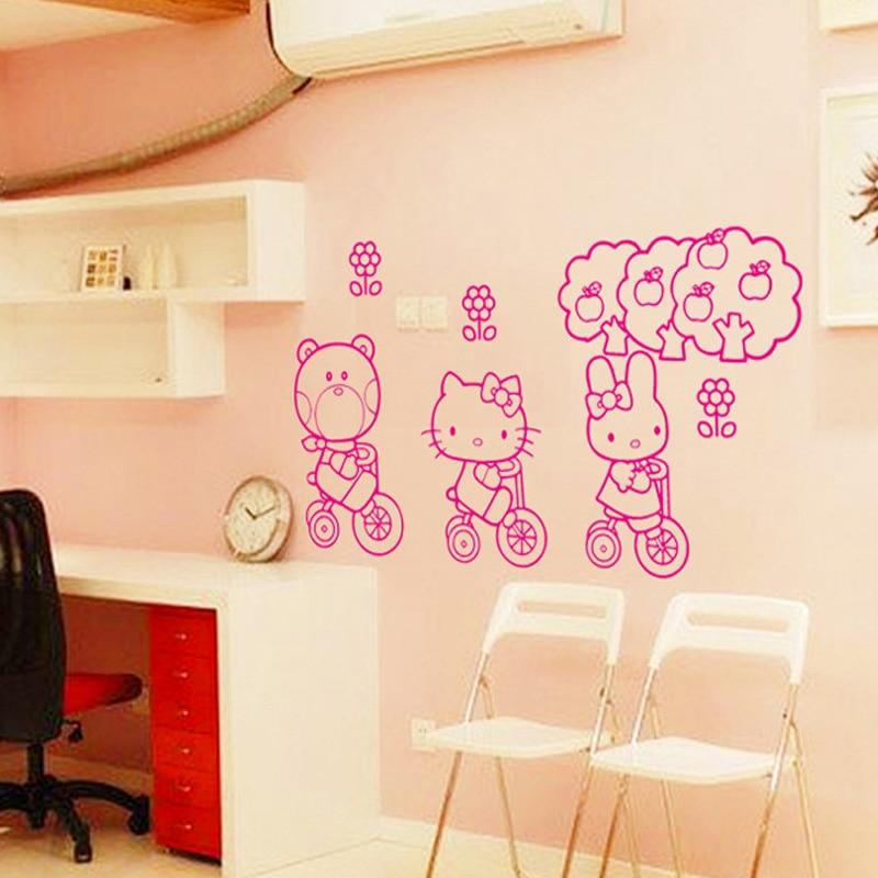 Guardería Pegatinas De Pared Hello Kitty Decoración Habitación Niñas extraíble y Flor