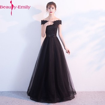 Sleeveless Elegant Red Evening Dress 2020 High Quality Prom Gowns  Deep Boat Neck Off the Shoulder Appliques Girls Party Dress