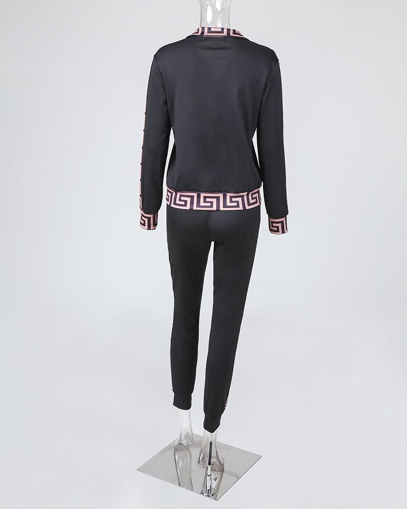 estilo cinza elegante, estampa fret, casaco e calça, plus size, 2020