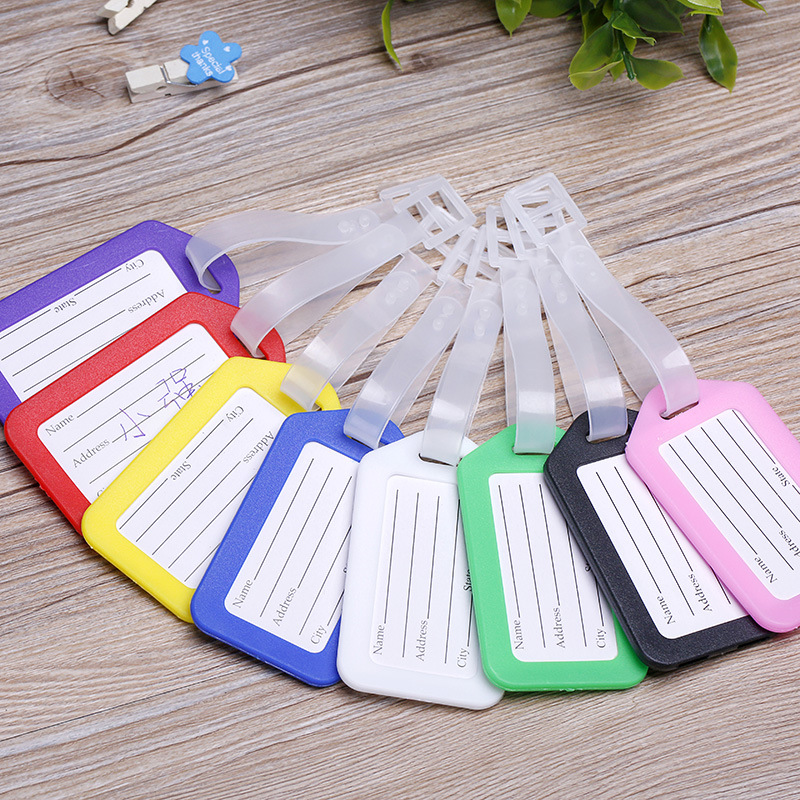 1PC Plastic Luggage Tags Holder Labels Strap Name Address ID Suitcase Bag Baggage Travel Luggage Label