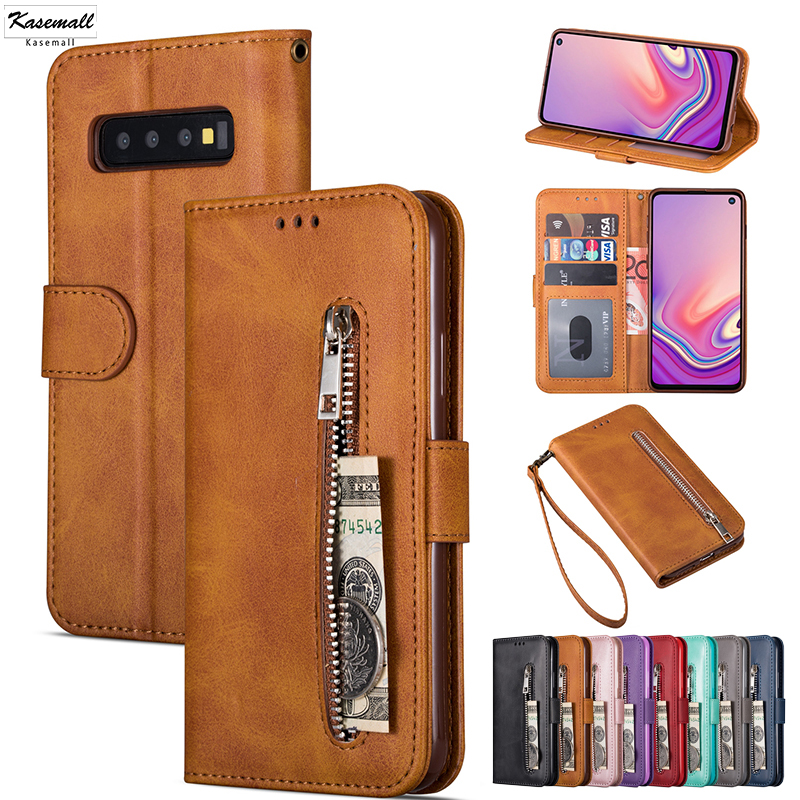 Leather Flip Wallet A50 A70 A10 A20 E A30 A40 Zipper Cases For Samsung Galaxy S9 Plus S8 S10 S7 S6 Edge Note 10+ 8 9 Cover Mujer