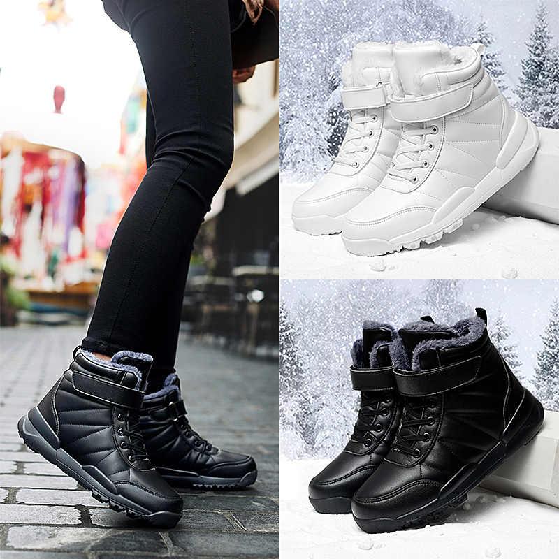 STQ Winter Laarzen Vrouwen Flats Warm Pluche Sneakers Schoenen Dames PU Leer Enkellaars Vrouwelijke Bont Binnenzool Snowboots Schoenen ZJW2060