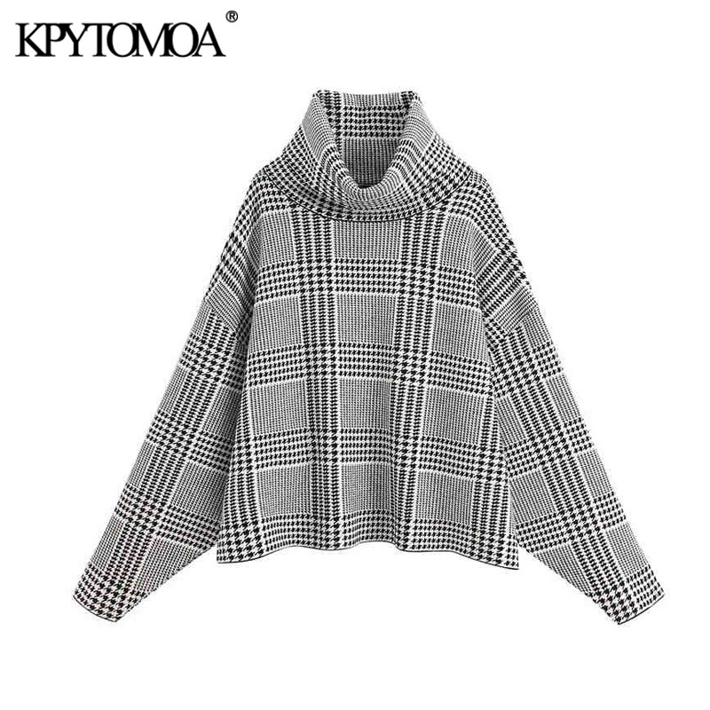 Vintage Stylish Houndstooth Oversized Knitted Sweater Women 2020 Fashion High Collar Long Sleeve Female Pullovers Chic Tops