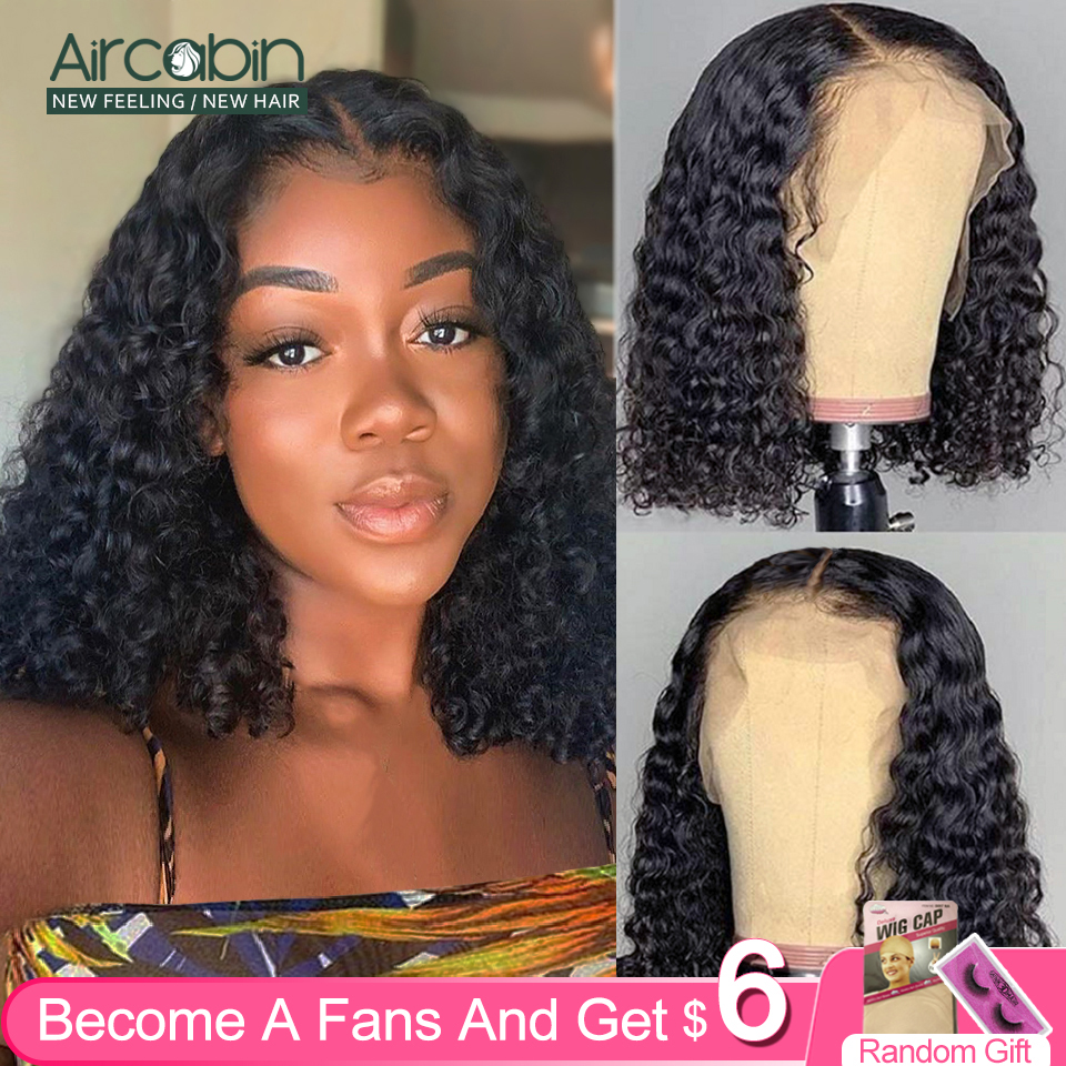 Aircabin Brazilian Deep Curly Wave 13x6 Lace Frontal Closure Bob Wigs Glueless Remy Human Hair Short Wigs For Black Women