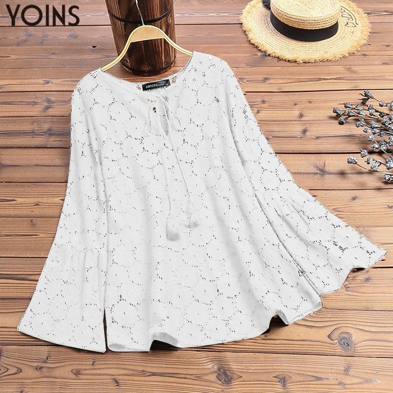 YOINS 2019 Autumn Women Sexy Lace   Blouse   Casual V Neck Long Sleeve   Shirts   Ladies Hollow Blusas Work Office Tunic Tops Plus Size