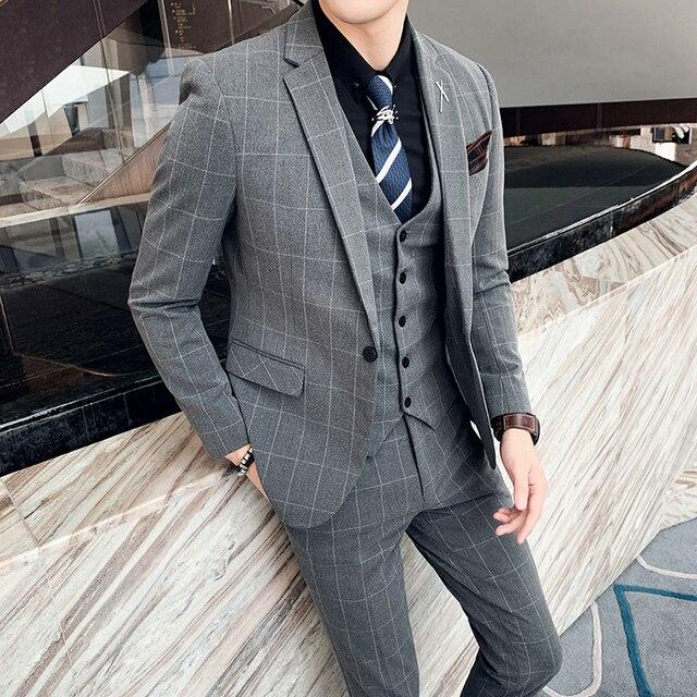 ( Jacket + Vest + Pants ) Boutique Fashion Mens Plaid Casual Business Suit High-end Social Formal Suit 3 Pcs Set Groom Wedding 6