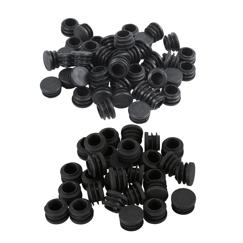 80Pcs Black Plastic Round Table Chair Leg Tube Pipe Insert End Cap, 50 Pcs 22Mm Dia & 30 Pcs 19Mm Dia