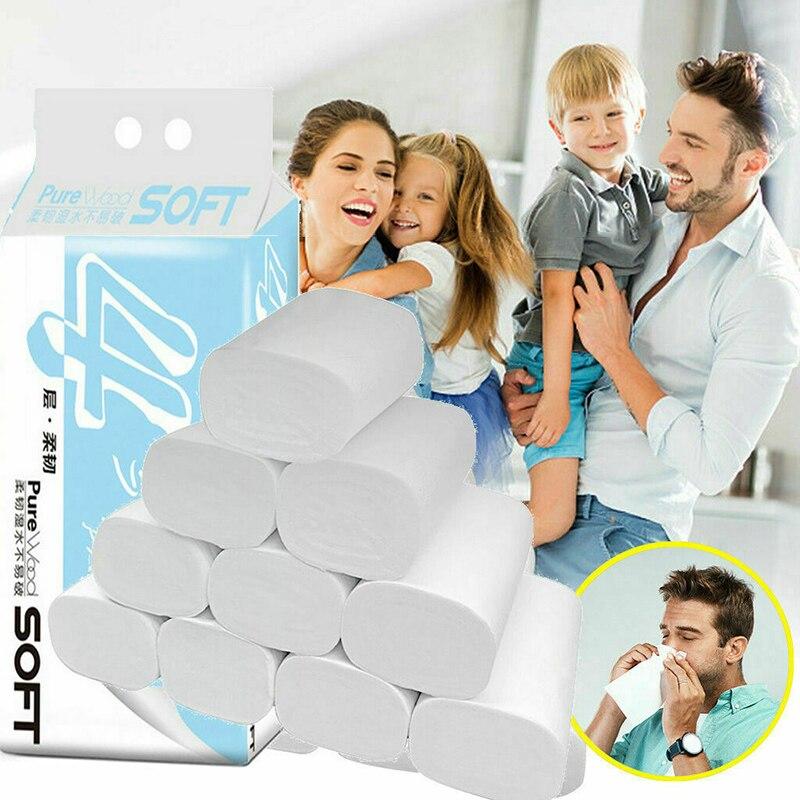 6/12/18/24 Rolls Toilet Paper Bulk Bath Tissue Bathroom White Soft 4 Ply Household Office Hh88