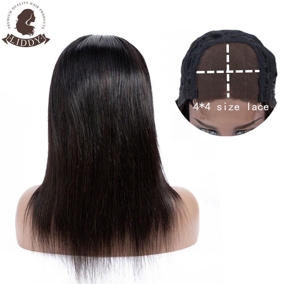 Liddy 4*4 Straight 100% Human Hair Wigs Lace Closure Human Hair Wigs For Black Women Non-remy Natural Color 150% Density Wigs