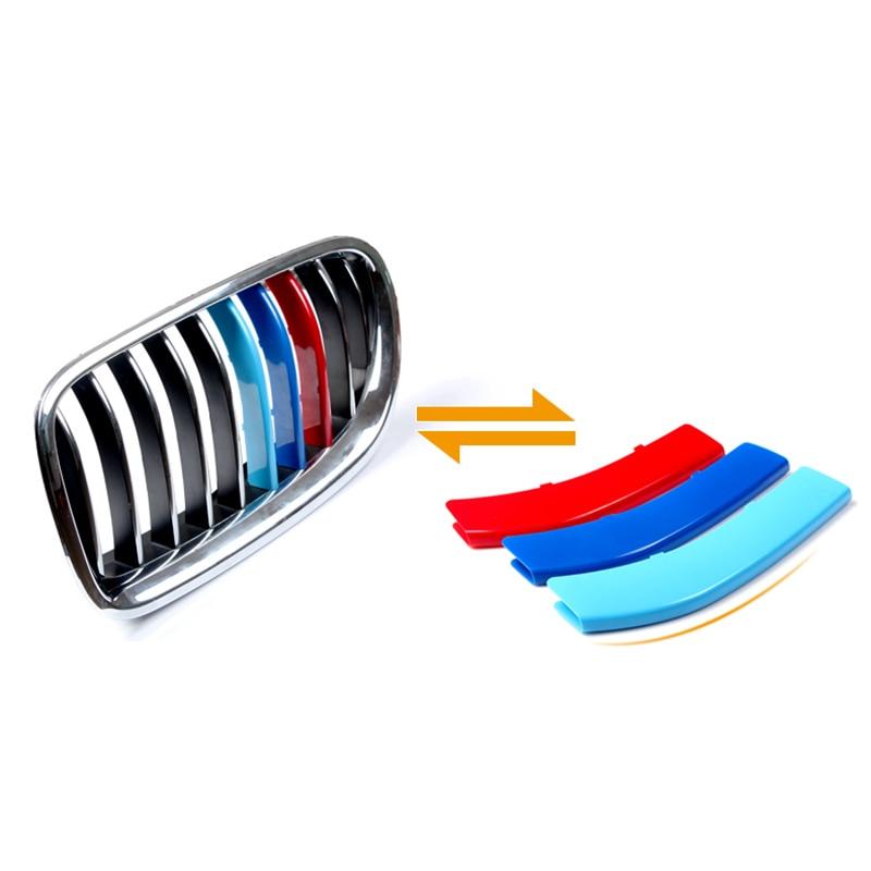Embellecedor de rejilla delantera para coche, pegatinas de deportes de motor, para BMW E90, E60, 3, 4, 5, X3, X5, X6, F10, F18, F30, F35, 3 colores, ABS, 3D, M