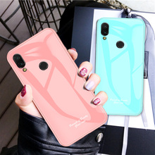 Redmi Note 7 Fahsion Macaron Tempered Glass Cover For Xiaomi 6.3 Case Shockproof Silicone Housing On
