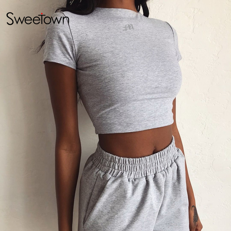 Sweetown 2020 Summer Solid Crop Top Short Sleeve T-Shirt Women Gym Clothing Letter Embroidery Slim Basic Streetwear Top Tees