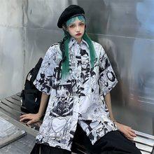 Qweek anime camisa feminina harajuku streetwear naruto manga impressão botão acima blusa coreano hip hop topo femme verão gráfico cardigan