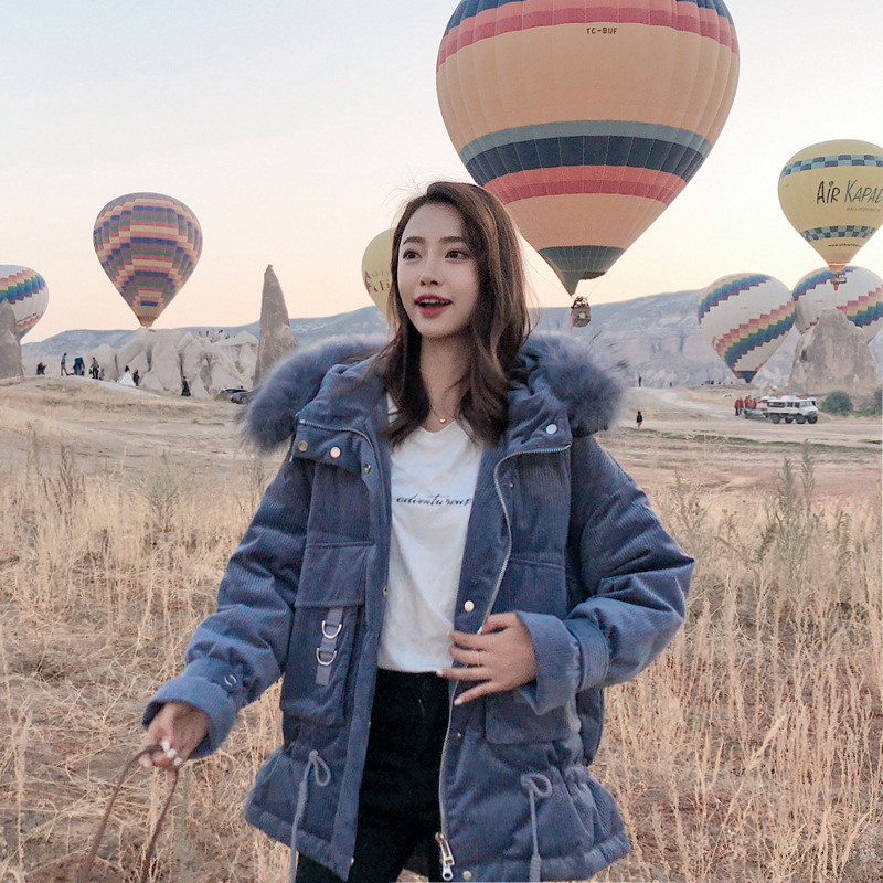 Corduroy Cotton-padded Clothes Women's 2018 Winter New Style INS Down Coat Korean-style Thick Cotton-padded Clothes Students Coa