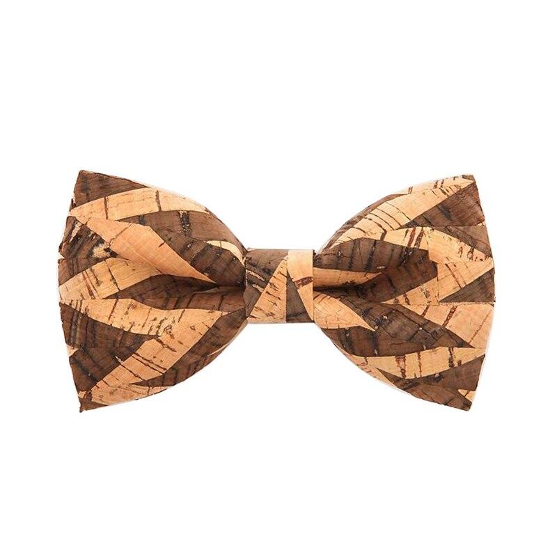 Novelty Corkwood Bow Ties For Men Wedding Marriage Handmade Cork Wood Bow Tie Sharp Corner Adult Neckties Cravat 011