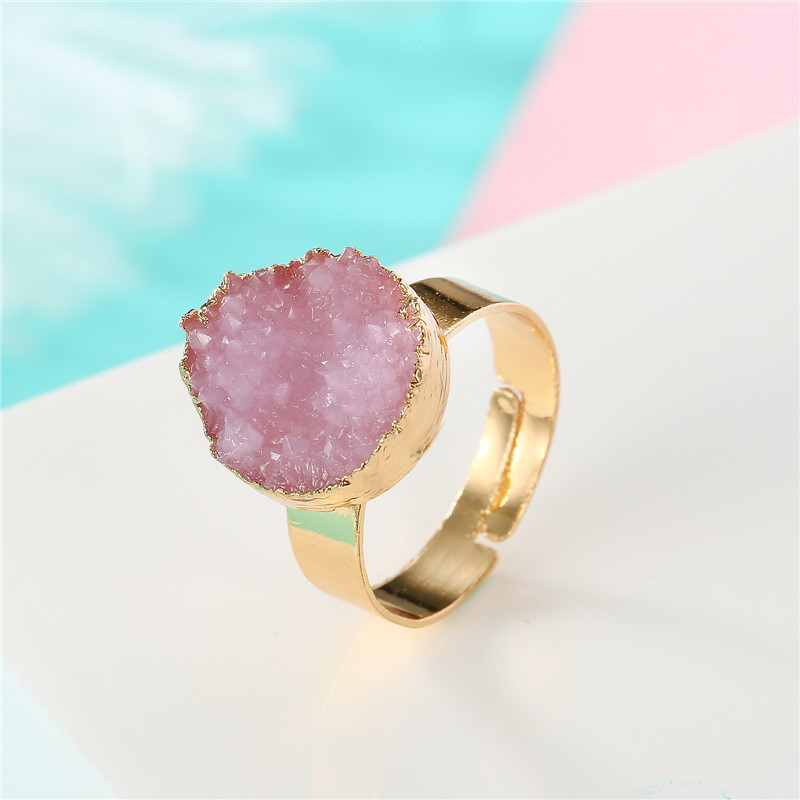 BELLAHYDIARY Round Pink Green Purple Resin Adjustable Ring Women Gifts Wedding Rings For Women Accessories Jewelry Jewellery R32 (3)