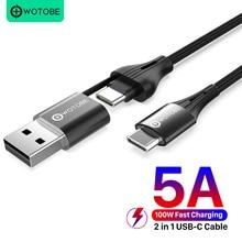 2 In 1 Usb C Tot C Kabel 100W, wotobe 5A E Mark Snel Opladen Nylon Gevlochten Koord Voor Xiaomi Macbook Pro Laptop Samsung S20 Note20