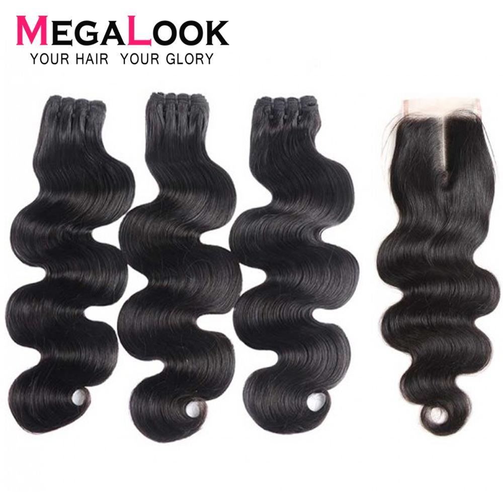 Body Wave Bundles With Closure Human Hair Peruvian Hair Bundles With Closure 3 4 Virgin Hair Closure And Bundles Megalook