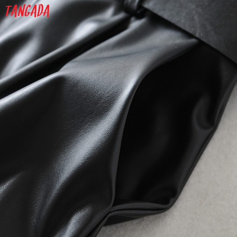 Tangada women black faux leather suit pants high waist pants sashes pockets 2019 office ladies pu leather trousers 6A05 45