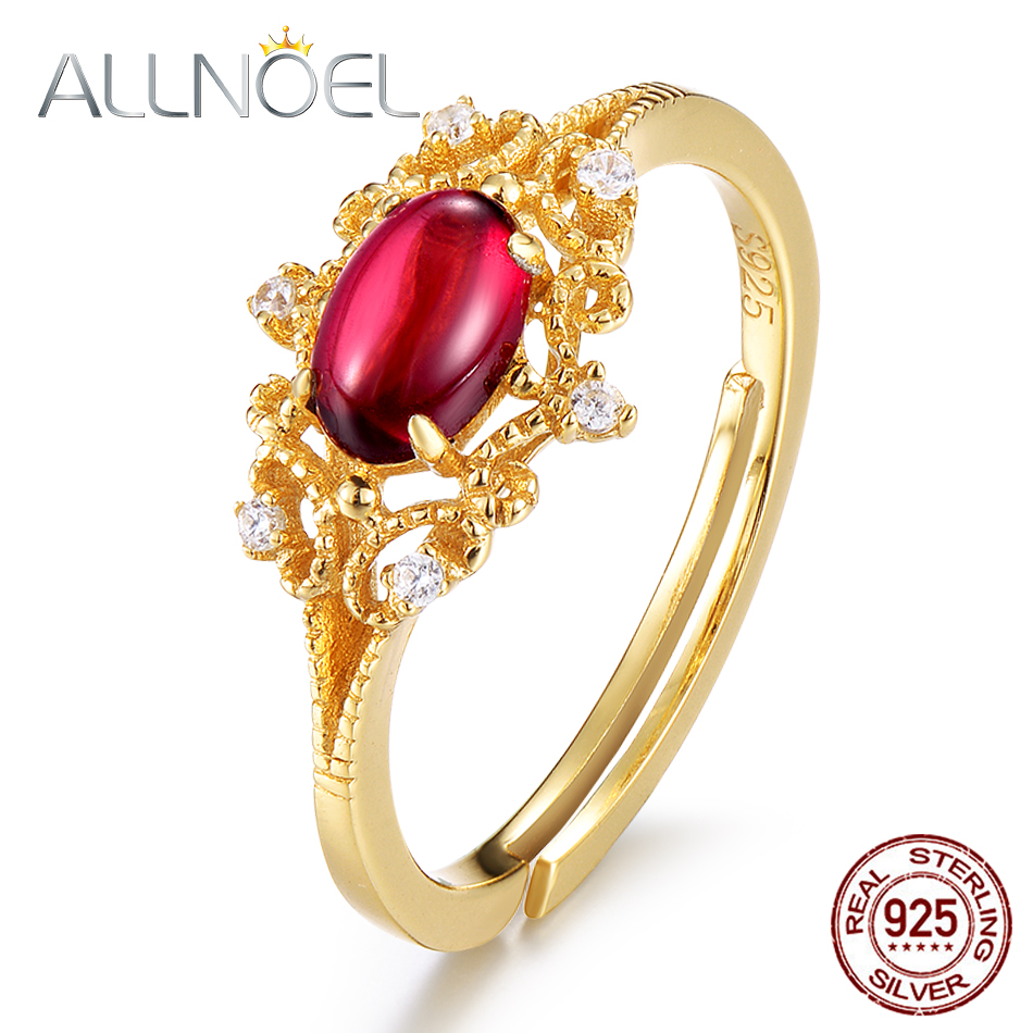 ALLNOEL 925 Sterling Silver Rings Natural Moissanite Garnet Gemstone 14K Gold Luxury Wedding Ring Gift Retro Wholesale Lots Bulk