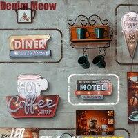 Светодиодная неоновая вывеска для гостиничного билборда, светильник для ресторана, бара, кафе, подвесные винтажные металлические вывески, ...