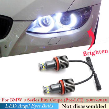 120W pair LED Headlight Angel eyes bulb Light For BMW 1 3 5 X Z Series E92 Coupe Pre-LCI E90 M3 E93 E 81 82 87 88 89 E60 E70 E71 image