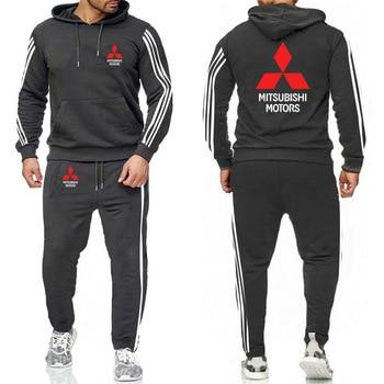 Hoodies Men Mitsubishi Car Logo  Casual Fashion Harajuku Printed Sweatshirt Fashion Men Hoodie+Pants 2Pcs Sporting 2
