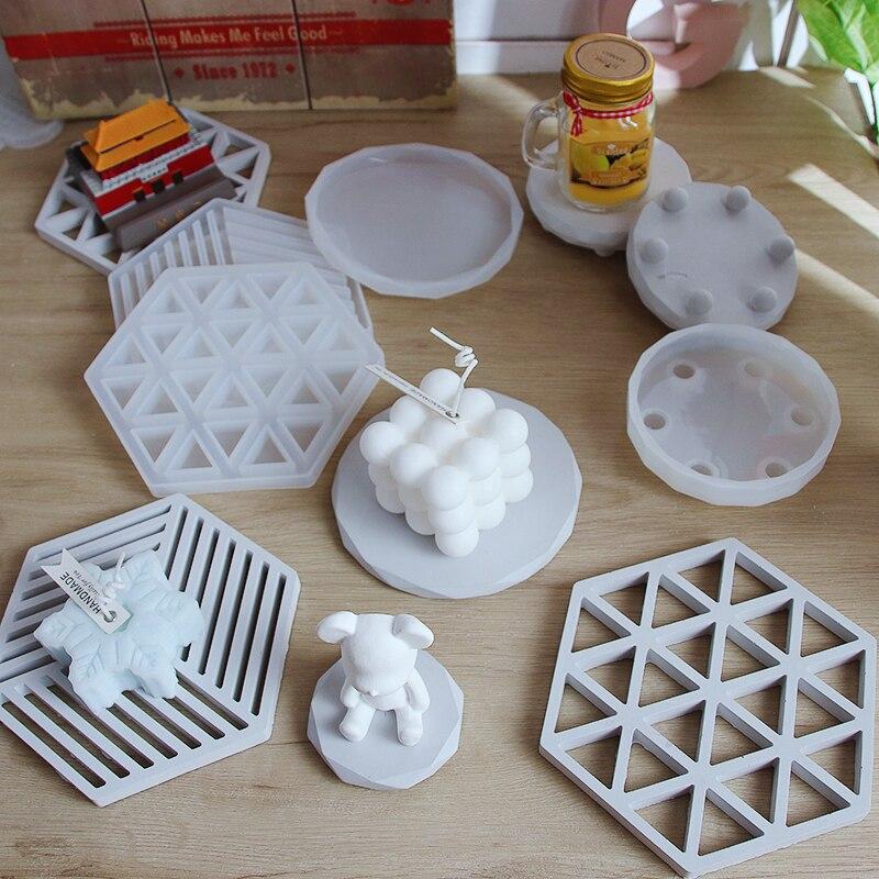 Design geométrico concreto jardinagem pote base de silicone molde redondo suporte de vela bandeja de cimento molde de gesso molde de silicone redondo