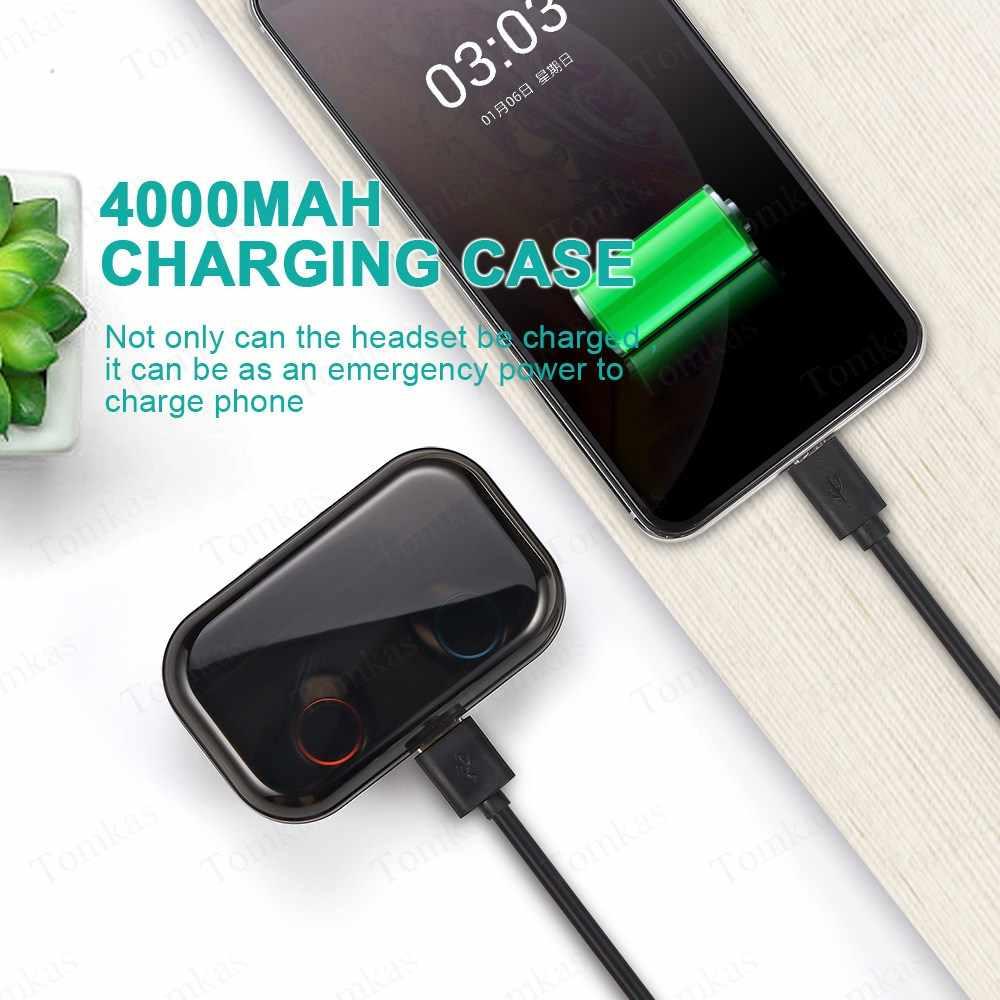 TOMKAS 4000mAh TWS bezprzewodowe słuchawki Bluetooth 5.0 słuchawki wyświetlacz mocy sterowanie dotykowe Sport 9D Stereo bezprzewodowe słuchawki douszne słuchawki