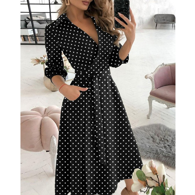 New Fashion Women Casual V Neck Long Dresses Chic Geo Pattern Graphic Print Pocket Design Wrap Dress 5