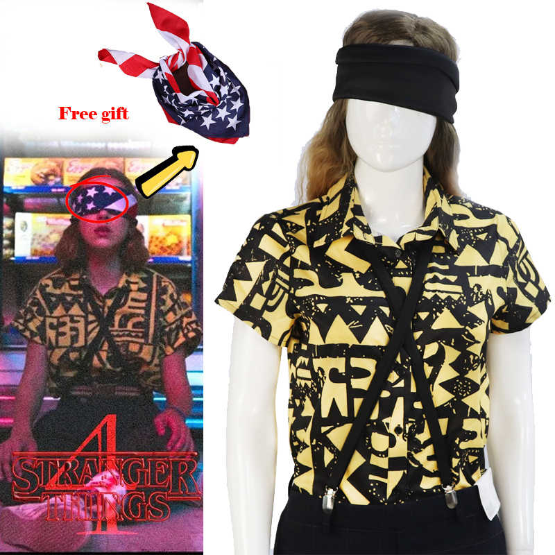 Stranger Things Eleven Cosplay Costumes T-shirt Shirt EL Halloween Girls Women Props headwear