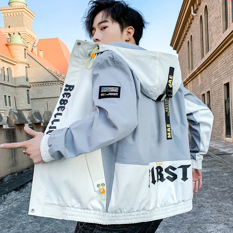 Men's Coat Spring Autumn 2020 New Korean Version Hooded Casual Jacket Men Fashion Zipper Jackets Outwear Slim Fit Plus Size
