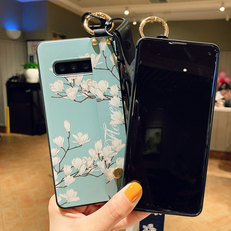 flower strap tpu case for samsung galaxy A70 A60 50 30 20 40 10 M20 s8 s10 s9 plus note 8 9 case cover wristband holder soft sil in Fitted Cases from Cellphones Telecommunications