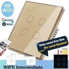 (Gerek nötr) WIFI dokunmatik işık duvar anahtarı altın cam mavi LED akıllı ev telefon kontrolü 4 Gang 2 yollu Alexa Google ev