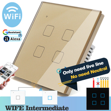 (No need neutral) WIFI Touch Light Wall Switch Gold Glass Blue LED Smart Home Phone Control 4 Gang 2 Way Alexa Google Home