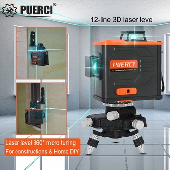PUERCI P6CG 12 Lines 3D Green Laser Level Self Leveling 360 Horizontal an Vertical Cross Super Powerful Green Laser Beam Line 12 lines 3d waterproof laser level self leveling 360 degrees rechargeable battery horizontal vertical cross green laser