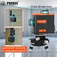 Puerci P6CG 12 Linee 3D Verde Laser Level Self Leveling 360 Orizzontale Una Croce Verticale Super Potente Laser Verde Fascio linea