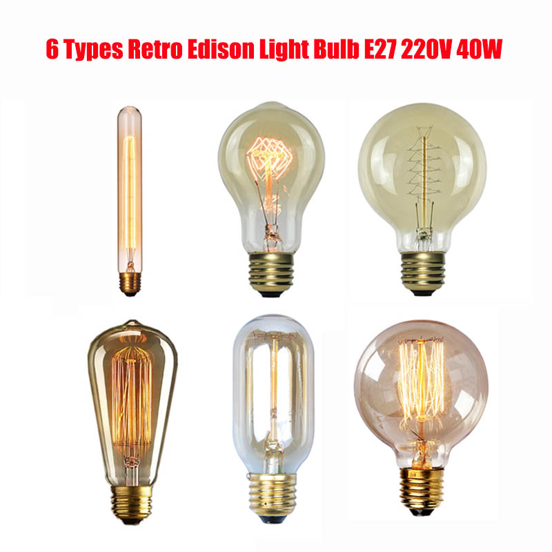 6 Types Retro Edison Light Bulb E27 220V 40W Filament Incandescent Ampoule Bulbs Vintage Edison Lamp Retro Decoration Lights