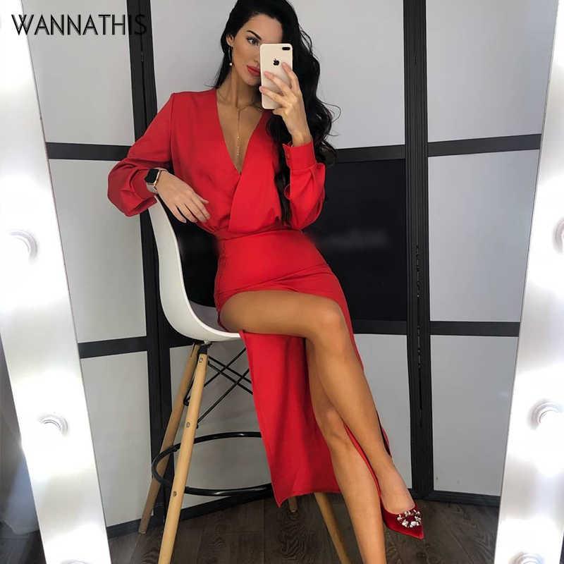 Wannathis אדום עמוק V-צוואר קרסול שמלות סדק Hem פיצול ארוך שמלות גובה מותן המפלגה סקסי אלגנטי קרסול שמלות Slim סתיו חדש