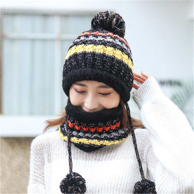 2019 Wool Knitted Thick Winter Pompom Skullie Beanies Rings Sets Women MS Cap Hat Scarf Neck Ear Warm Fashion Accessories-CGC-W7