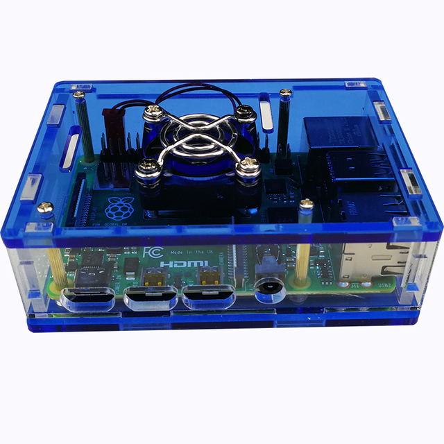 Demo Board Accessories Raspberry Pi 4 Model B Case, Transparent Case with Cooling Fan ,Raspberry Pi Acrylic Box