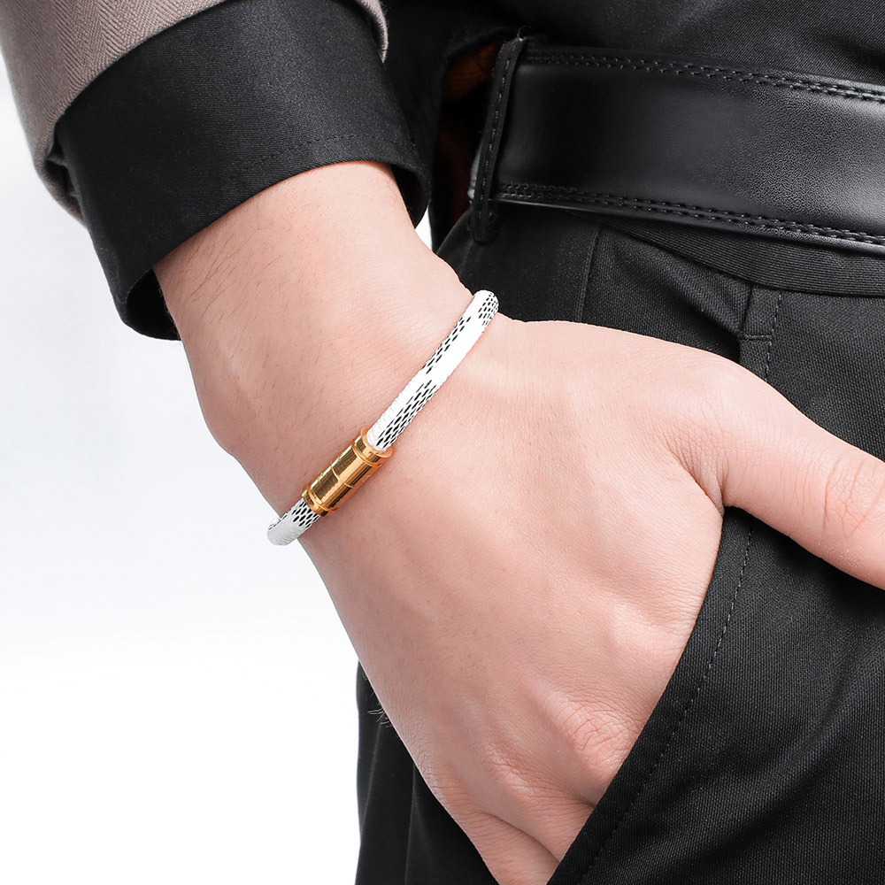 Fashion Leather Bangle Bracelet Stainless Steel Magnetic Bracelet Men Jewelry Vintage Charms Bracelet Unisex Jewelry