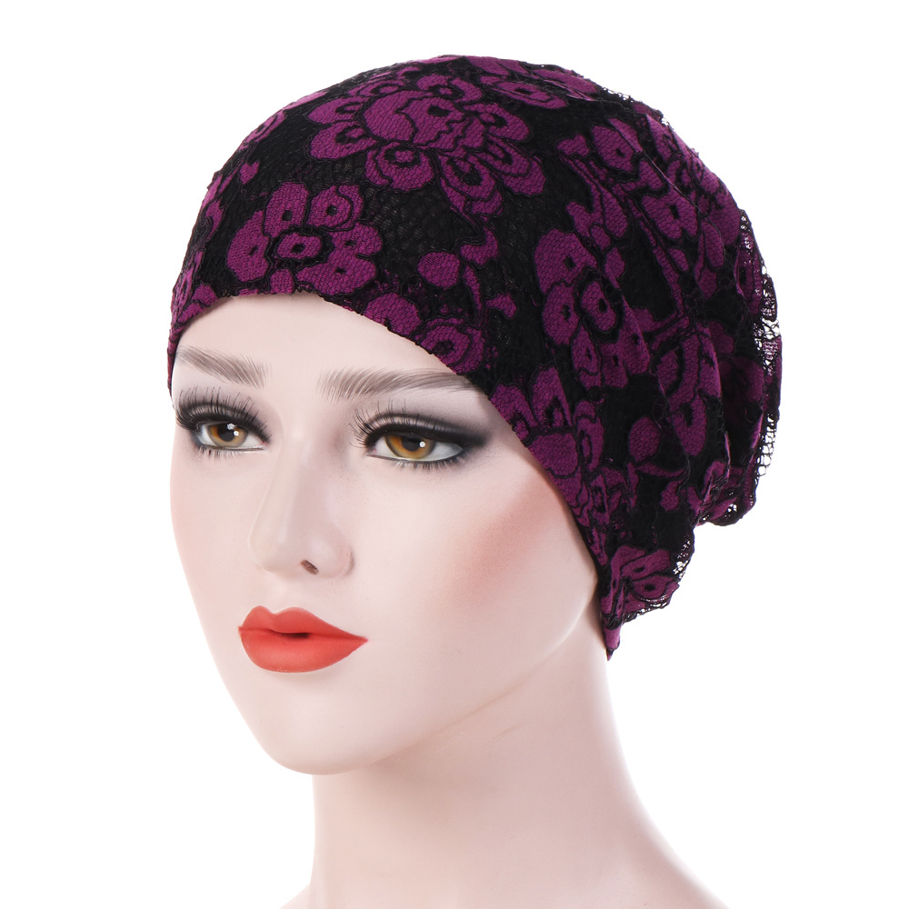 Women Muslim Turban Lace Chemo Cap For Cancer Patients Lose Hair Wrap Hat Muslim Prayer Hats