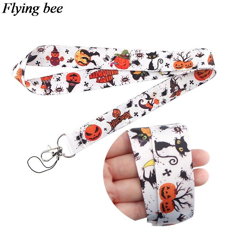 Flyingbee Halloween Keychain Cartoon Cute Phone Lanyard Women Fashion Strap Neck Lanyards For ID Card Phone Keys X0651